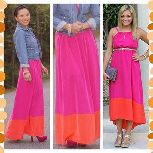 Old Navy pink and orange color block maxi dress XS